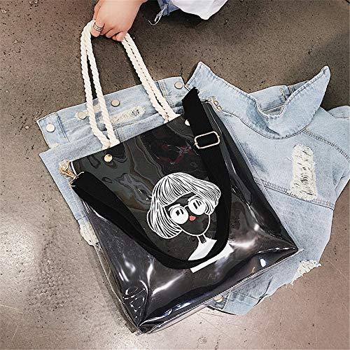 bandoulière Messenger en de gelée à main coréenne grand littéraire sac main sac Bag sac Noir sauvage nouvelle transparente à Sacs toile vague à de LANDONA aqwBAA