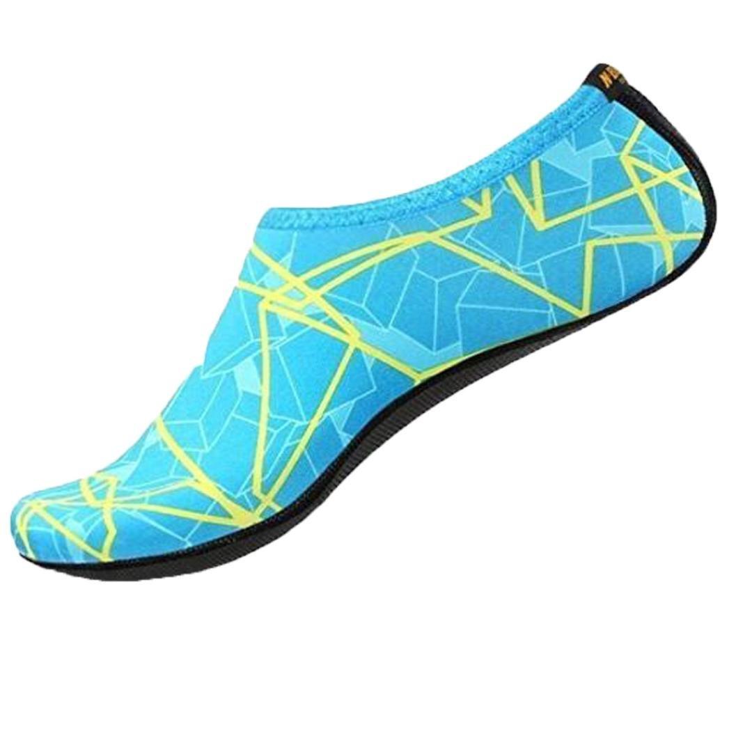 Malloom Water Socks Barefoot Skin Shoes Beach Surf Diving Home Slipper Pool Swimming Yoga Socks for Men Women (Blue, XL)