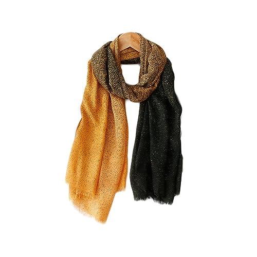Donna Morbido Colore Gradiente Extra Grande Sciarpe Stole Scialli Wrap(Giallo)