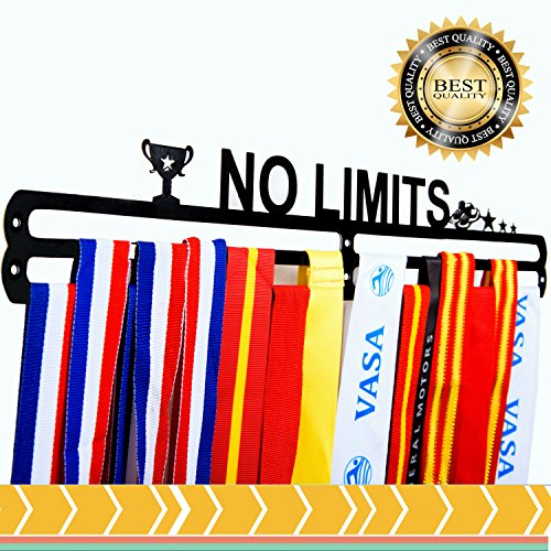 Azonten1 Medal Hanger + Medal Rack + No Limits + Medal Display for 40+ Medals Medal Hanger for Runner + Soccer + Medal Holders for -
