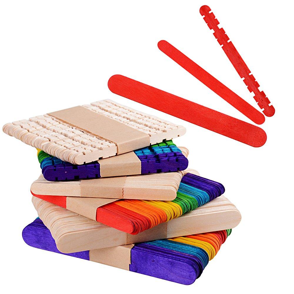 300 × Palitos para Manualidades Palos Palillo de Madera Natural Colores Material para DIY Bricolaje Artesanía AONER 10325