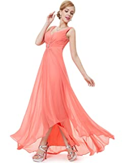 b2d2c46b519f Ever Pretty Womens Double V-Neck Rhinestones Ruched Bust High Low Evening  Dress…