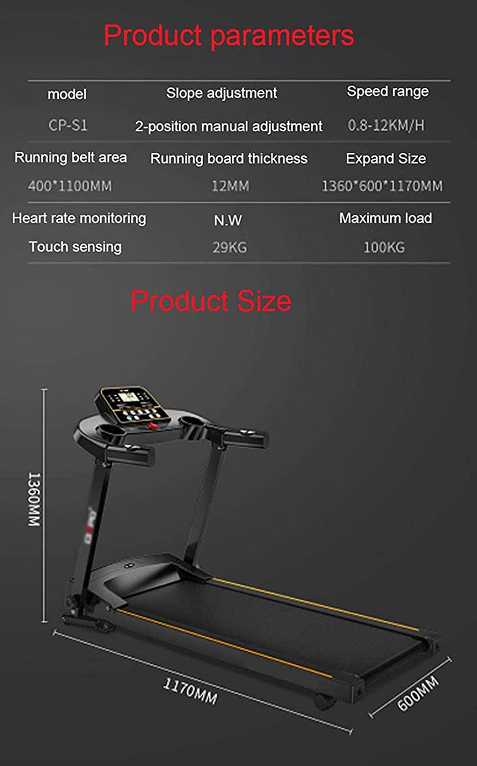 DFGWS Motorised Electric Treadmill Folding Running Machine 2.5CHP Motor Up to 12.8KM//H 12 Programmes Walking Machine Portable Gym Equipment for Fitness Workout