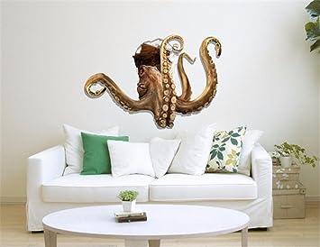 AdornHome Wandtattoo Wandsticker Wandaufkleber Wandbilder 3D Octopus  Gebrochene Wand Schlafzimmer Wohnzimmer TV Sofa Hintergrund HD Selbstklebend