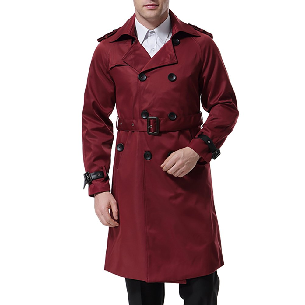 AOWOFS Men's Double Breasted Trenchcoat Stylish Slim Fit Mid Long Belted Windbreaker