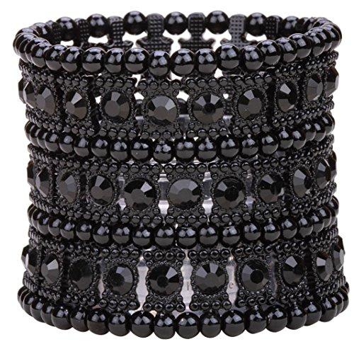 YACQ Angel Jewelry Women's Multilayer Crystal Stretch Bracelet 3 Row
