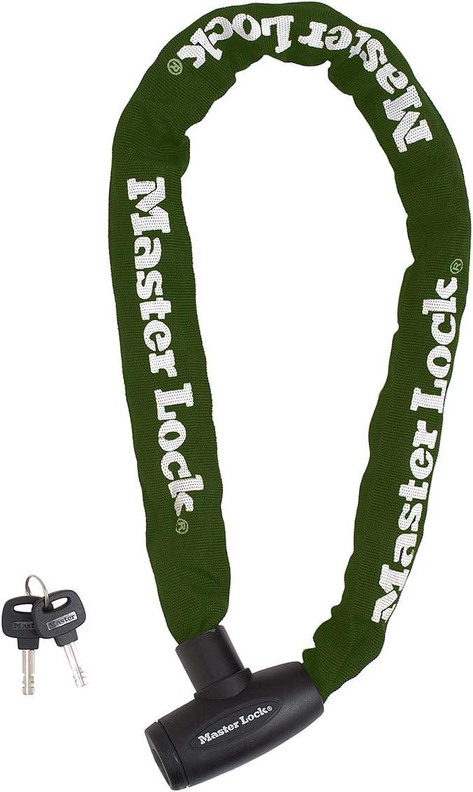 Master Lock 8022EURD Candado Bicicleta con Cadena Llave, Verde, 60 cm