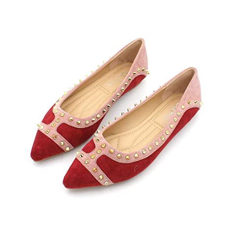 e1e40f27c54b3 Amazon.com: August Jim Womens Red Flats Rivet Pointed Toe Ladies ...