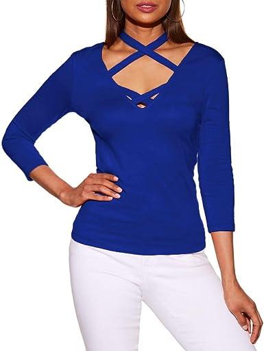 Blusa Camiseta Full para Mujer, Tops con Cuello en V Casual para Mujer de Manga Larga Camiseta con Cuello en v Blusa: Amazon.es: Ropa y accesorios