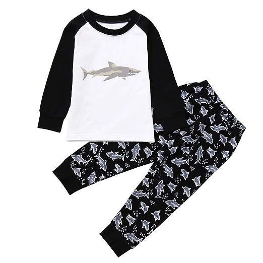 54454a97608cc Sagton Baby Clothes Sets Unisex, Cartoon Shark Print Color Blocking Top  Print Pants (3T