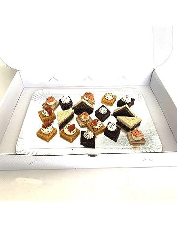 Extiff Lote de 25 Cajas de cartón compactas Blancas para Bandeja de pastelería, pequeños hornos