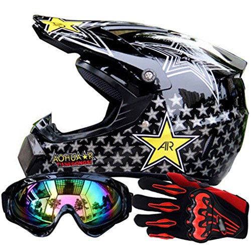 (Miidii Men Helmet + Goggles + Gloves Racing Off-Road Helmet Dirt Bike ATV Gear Motocross Helmet (Color 2,L))