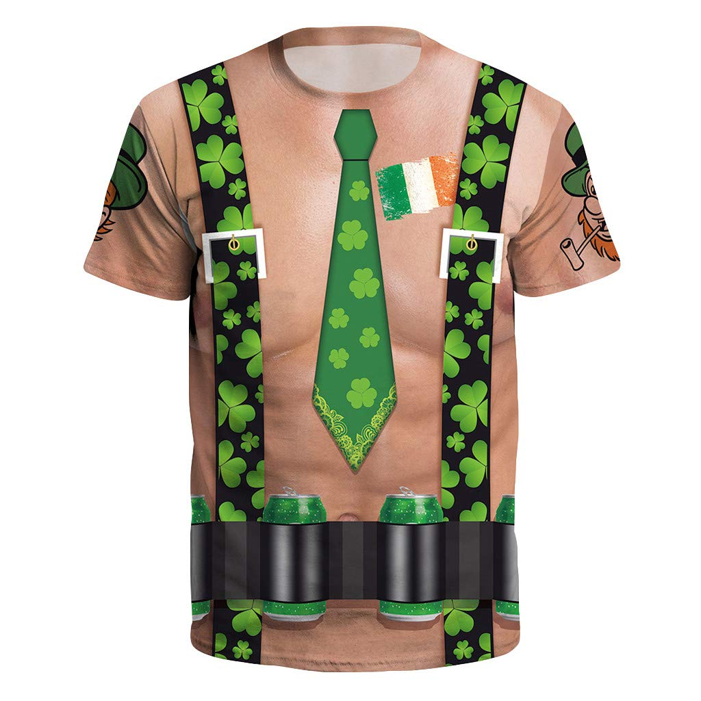 DIOMOR Men Women's Funny HitItems St.Patrick's Day Clover Printed Short Sleeved O-Necked T-Shirt Tops