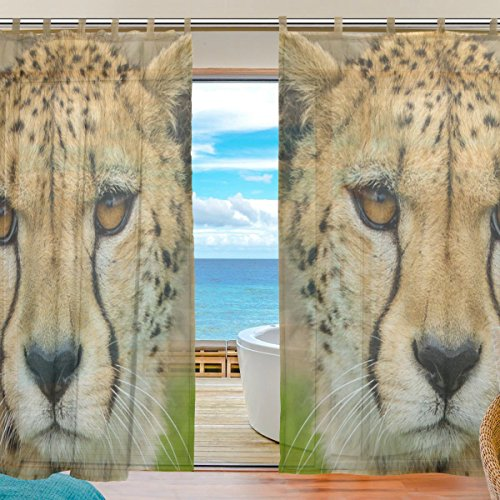 INGBAGS Bedroom Decor Living Room Decorations Cheetah Pattern Print Tulle Polyester Door Window Gauze / Sheer Curtain Drape Two Panels Set 55x78 inch ,Set of 2](Cheetah Decor For Bedroom)