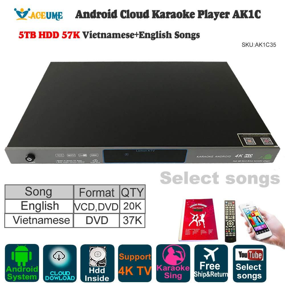 5TB HDD 57K Songs Android Karaoke Player/Jukebox 37K Vietnamese DVD Songs 20K English VCD DVD Songs, Cloud Download,Watching TV,KODI,YouTube Songs Could be selected