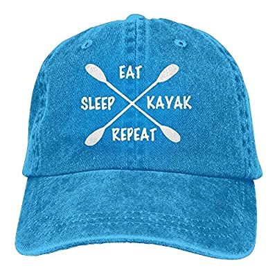 roylery Baseball Jeans Cap Eat Sleep Kayak Repeat Men Women Snapback Caps Washed Denim Cap
