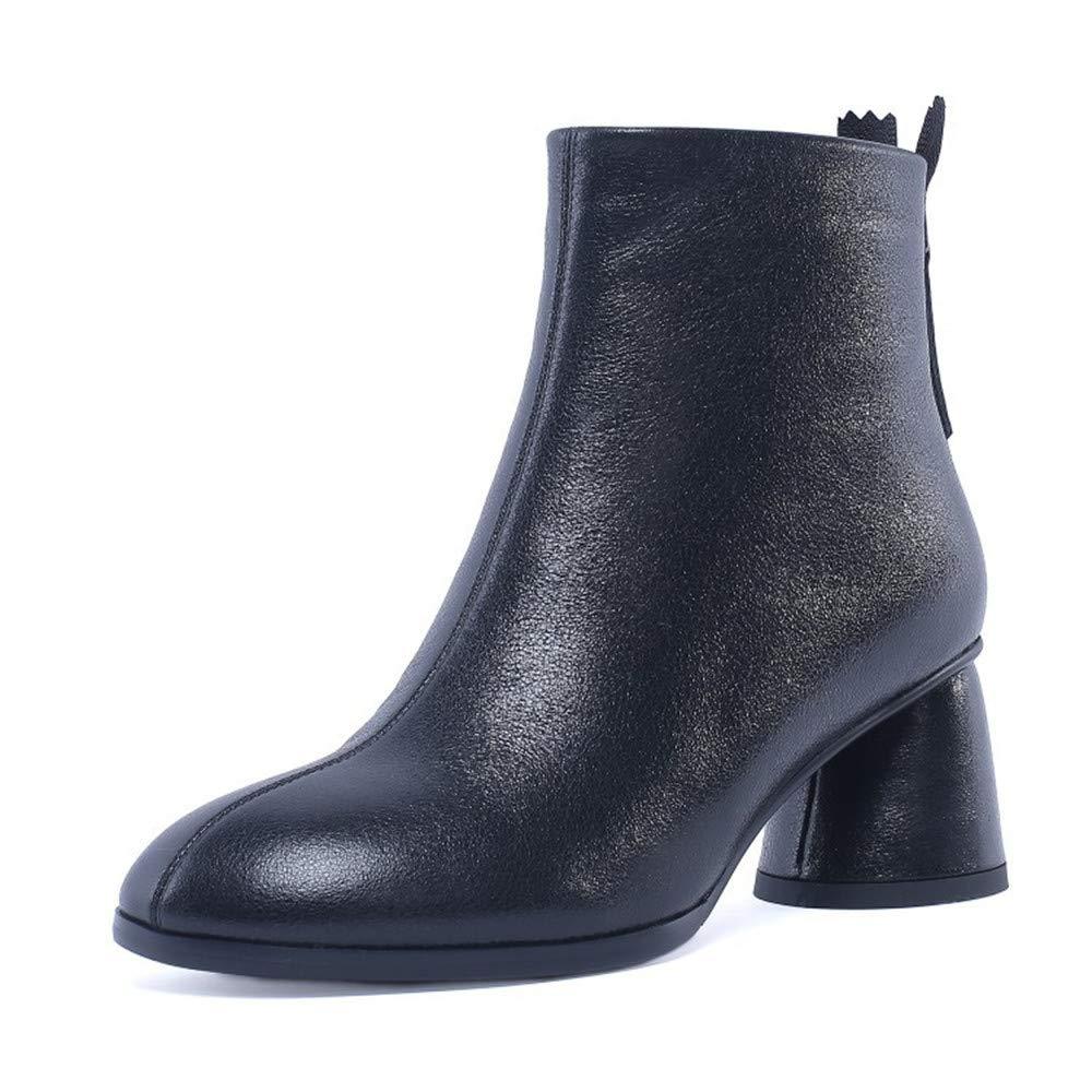 Noir Shirloy(bottes) pour Les Les dames Chaussures en en en Cuir épaisses avec tête Ronde Bottes Martin Charme du tempéraHommest Bottes Confortables d42