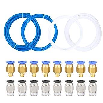 Dreamtop 4 tubos de teflón PTFE, 8 piezas PC4-M6 de ajuste ...