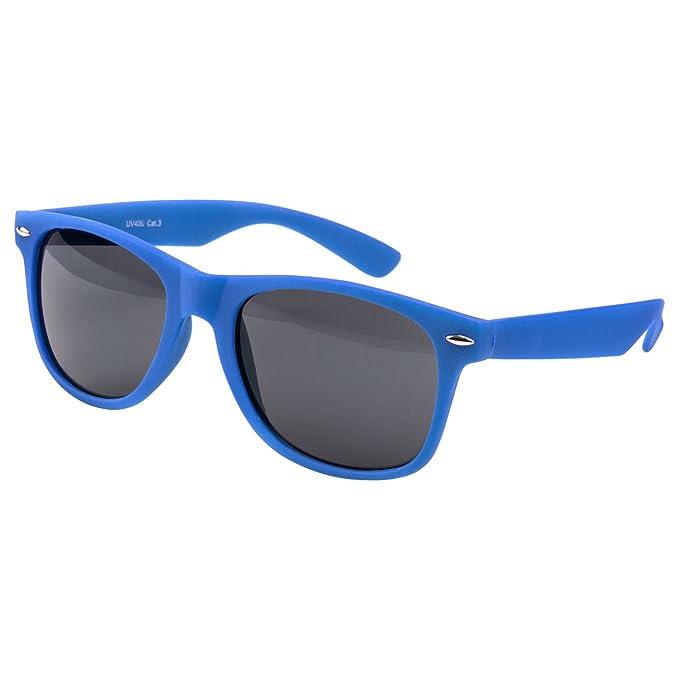 Sonnenbrille Polarisiert Nerd Brille Wayfarer Spiegelglas Color Blau IePojld