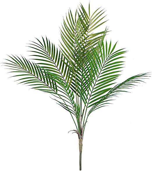Amazon Com 34 6 Artificial Palm Leaves Tropical Greenery Imitation Faux Fake Palm Tree Leaf Artificial Plants Leaves For Safari Jungle Decor Green 9 Leaves Home Kitchen
