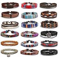 Hanpabum 18pcs Friendship Braided Leather Bracelets for Men Women Wood Bead Bracelets Woven Cuff Bracelet Adjustable