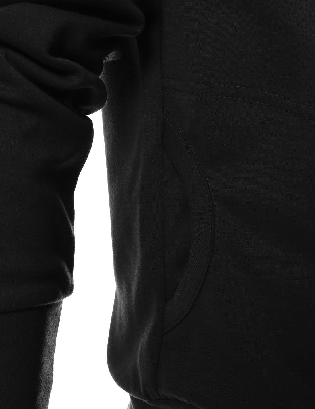 TheLees (R4BH) Mens Casual Luxury Buckle Hoodie Slim Cotton Sweatshirts BLACK US XS(Tag size M) by TheLees (Image #5)