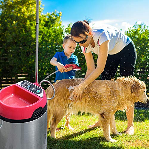 Heated Outdoor Pet Shower - Portable Electric Outside Shower, Digital Temperature Control Up to 119 Degrees, Connects to Standard Garden Hose, for Pool, Camping, Heated Pet Baths