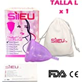 Sileu Violet Menstrual Cup, Made from Medical Grade Silicone, Reusable. Model Sport - For Menstrual Light to Heavy Flow. A Natural Alternative to the use of Tampons and Sanitary Pads - L Size - Suitable for women who have given birth and/or over 25 years - 1 Unit