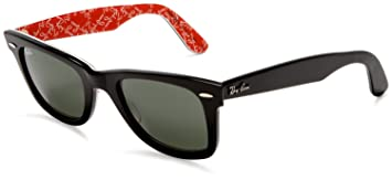 large frame ray ban wayfarer  RAY BAN WAYFARER BLACK WITH RED TEXT INLAY RB2140 1016 CRYSTAL ...