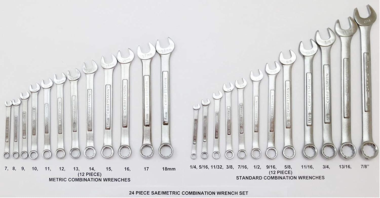 Craftsman 11 Piece 12 Point Standard SAE Combination Wrench Set 5//16-7//8