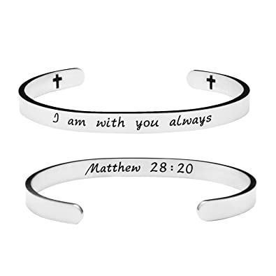 Amazon Religious Gift For Girls I Am With You Always Jewelry Bible Valentines Day Cuff Bracelet Stainless Steel Bangle