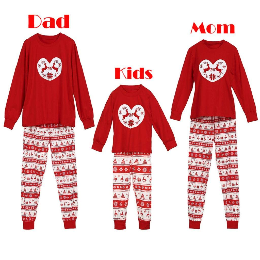 Women Man Kids Boy Girl Baby T Shirt Pants Family PJS Nightwear Outfits Set Clothes Matching Christmas Pajamas Set Blouse +Santa Striped Pants WNGO_Pyjama