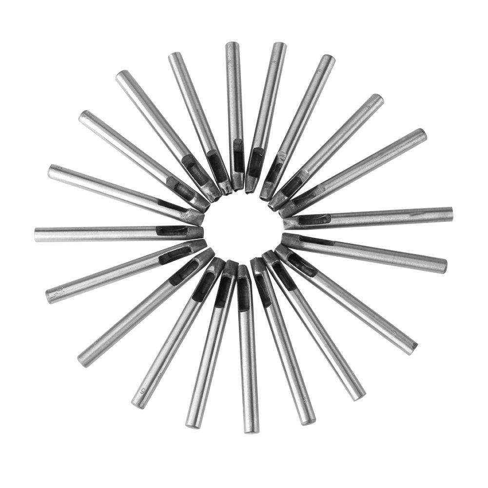 Juego de 20 perforadores de cuero de 6 mm de acero al carbono para decoraci/ón de cartera//cintur/ón