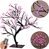 Peach Blossom Tree Desk Light for Bedroom,0.45M/17.72Inch 48 Pink LEDs,Black Branches,USB Powered,Remote,8 Lighting Mode,Dimmable,Timer Decorative Night Lights for Office Restaurant Home Hotel Camping
