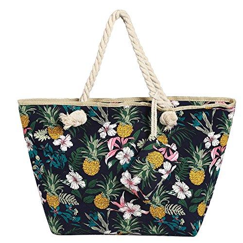 Große Strandtasche wasserabweisend mit Reißverschluss Blumen und Ananas