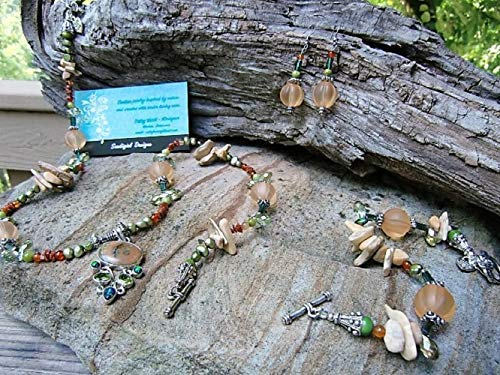 - Handmade Jewelry Set - Rain Forest, Fire Opal & Peridot .925 Sterling Pendant Carnelian, Sandstone, Coconut Shell, Fossil Stone & Pewter