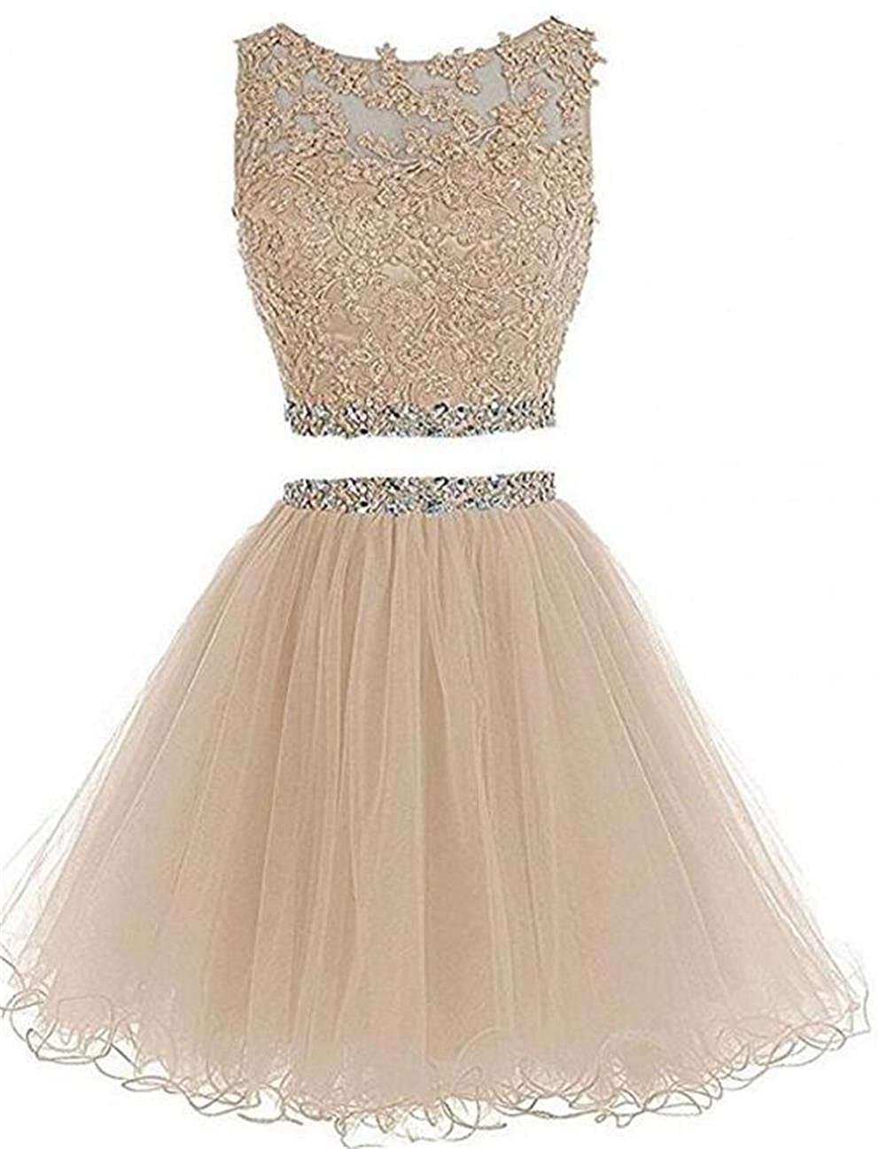 27426be090bc Women 2 piece scoop open back appliques crystals a line tulle short prom  party dress homecoming dresses for juniors teens plus size