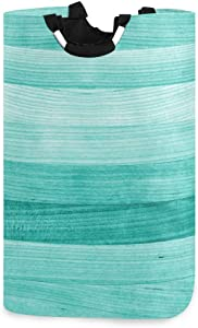 senya Teal Turquoise Green Wood Laundry Basket Collapsible Laundry Hamper with Handle Foldable Laundry Bin