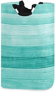 senya Teal Turquoise Green Wood Laundry Basket Collapsible Laundry Hamper with Handle Foldable Laundry Bin