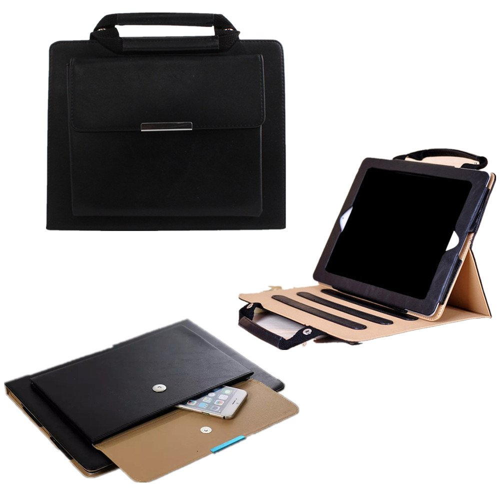 TechCode 7.9 Inch Case for iPad Mini 1, Portable Business Style Handbag Slim PU Leather with Handle Pocket Stand Carrying Case Cover for iPad Mini 1/2/3 (Black)