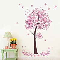 Pink butterfly flowers Tree Wall Art Decal Sticker Mural Removable Decoration for Living Room Nursery Decor Baby Girl Kid Children Women Room Bedroom (C)