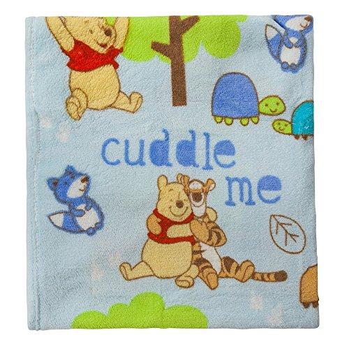(Disney Winnie The Pooh Plush Printed Baby Blanket, Blue)