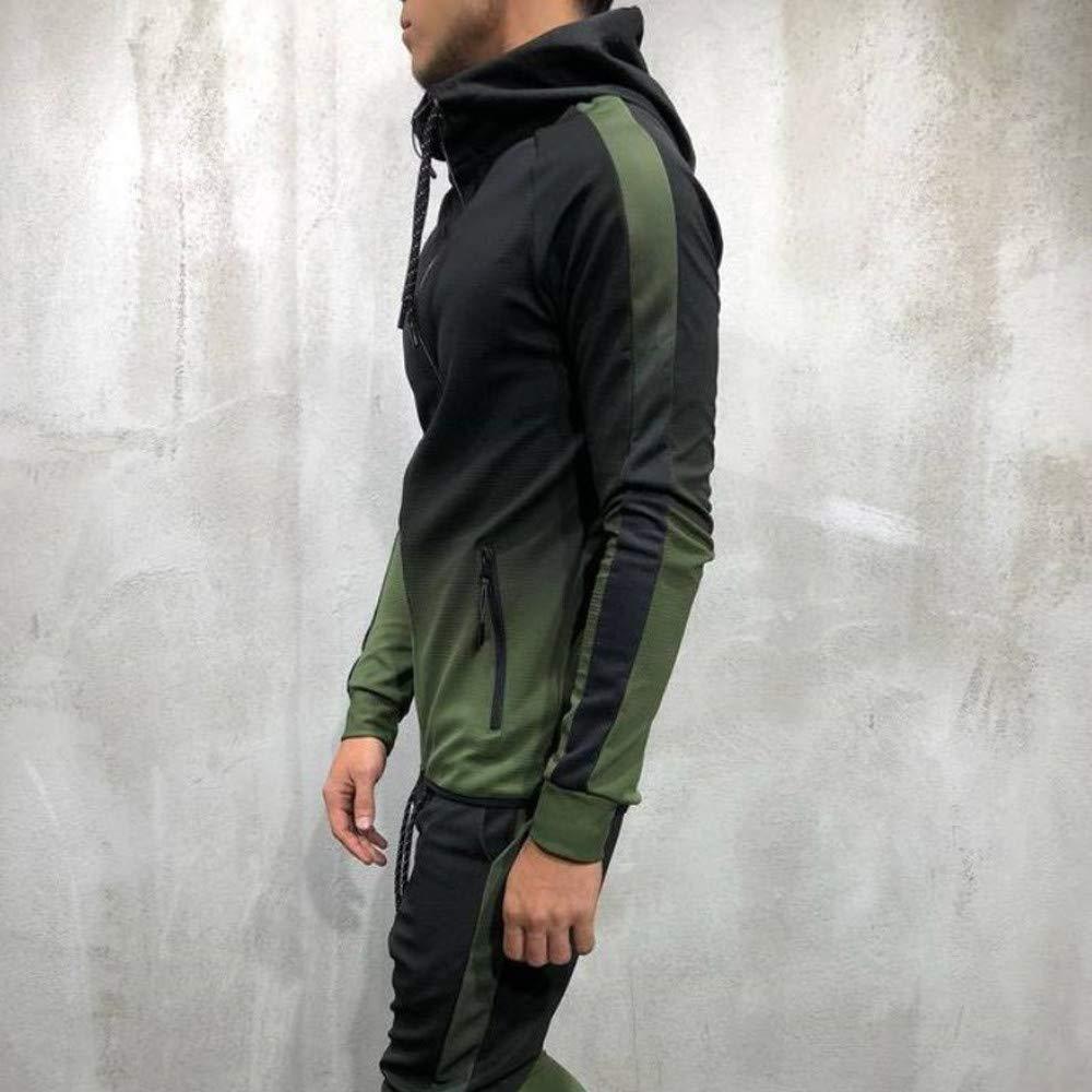 Fashion Slim Long Sleeve Hoodie Top Mens Autumn Winter Packwork Graduated Blouse