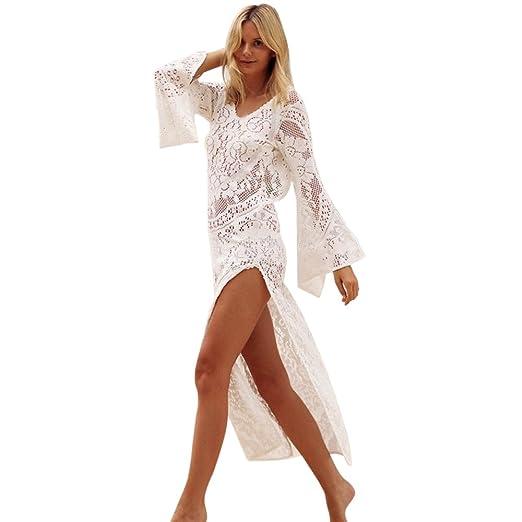 54c95f4bdd2 HHei K Women Bohemian Summer Hollow Out Flower Lace Long Sleeve Sundress  Lady Beach Backless Cover Up