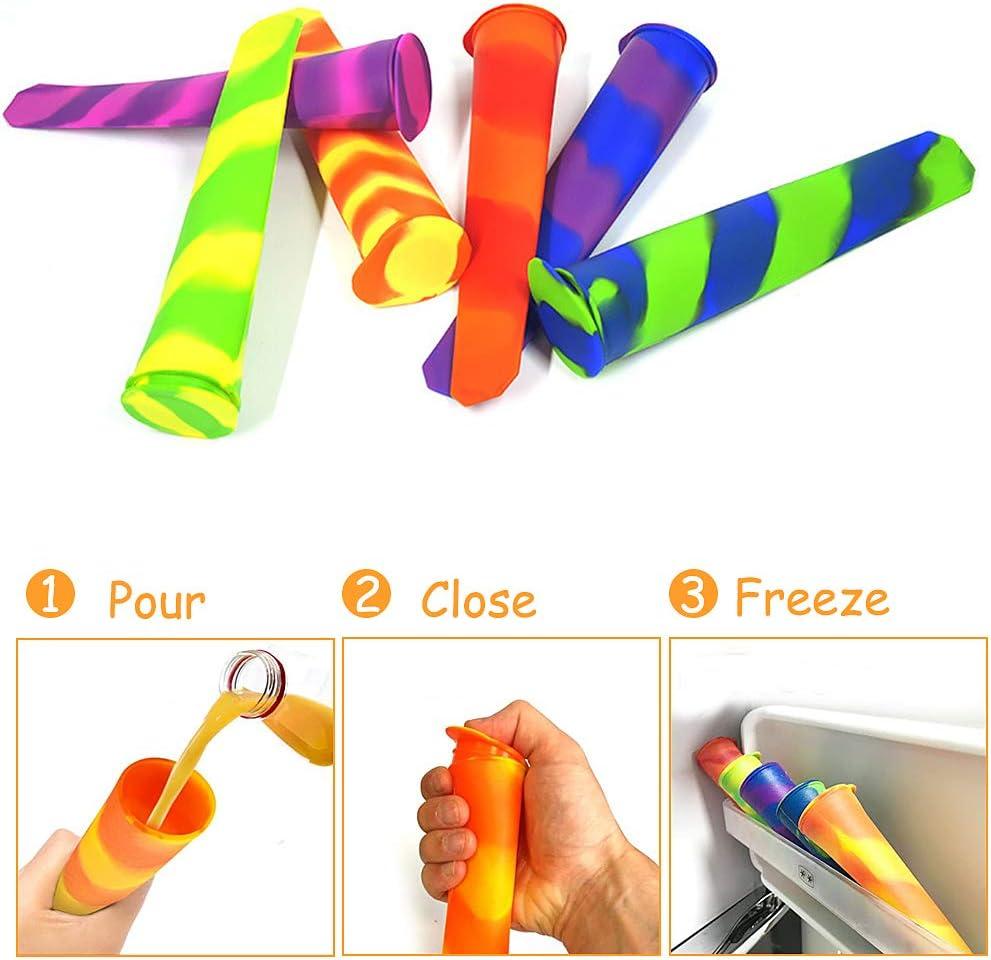 Latocos 6 Pack Gefrorenes Eis am Stiel mit Deckel Wiederverwendbar Mehrfarbig Eisw/ürfelform aus Silikon Perfekt f/ür Kinder und Erwachsene