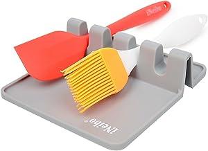 iNeibo Silicone Spoon Rest, Kitchen Utensil Rest, Ladle & Spoon Holder for Cooking, Kitchen, Kitchen Utensil Set(1pk,Gray)