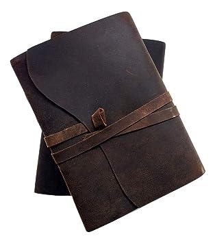 Amazon.com: Diario de piel hecho a mano – cuaderno de viaje ...