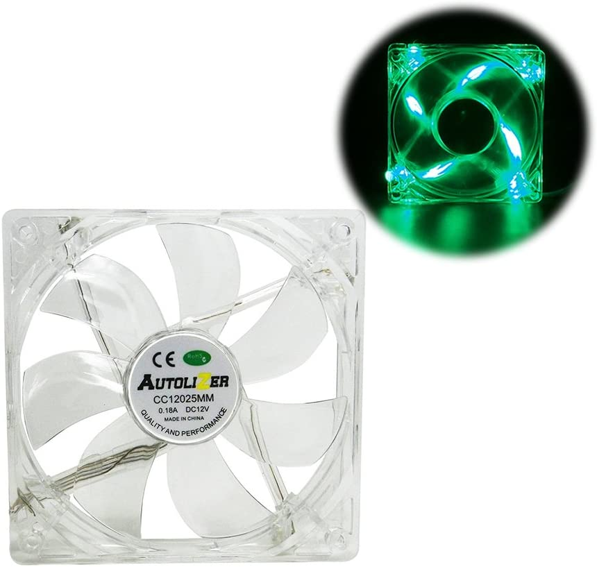 Red Quad 4-LEDs Autolizer 120mm Sleeve Bearing Silent Quiet Cooling Fan for Computer PC Desktop Cases CPU Coolers and Radiators Clear Transparent