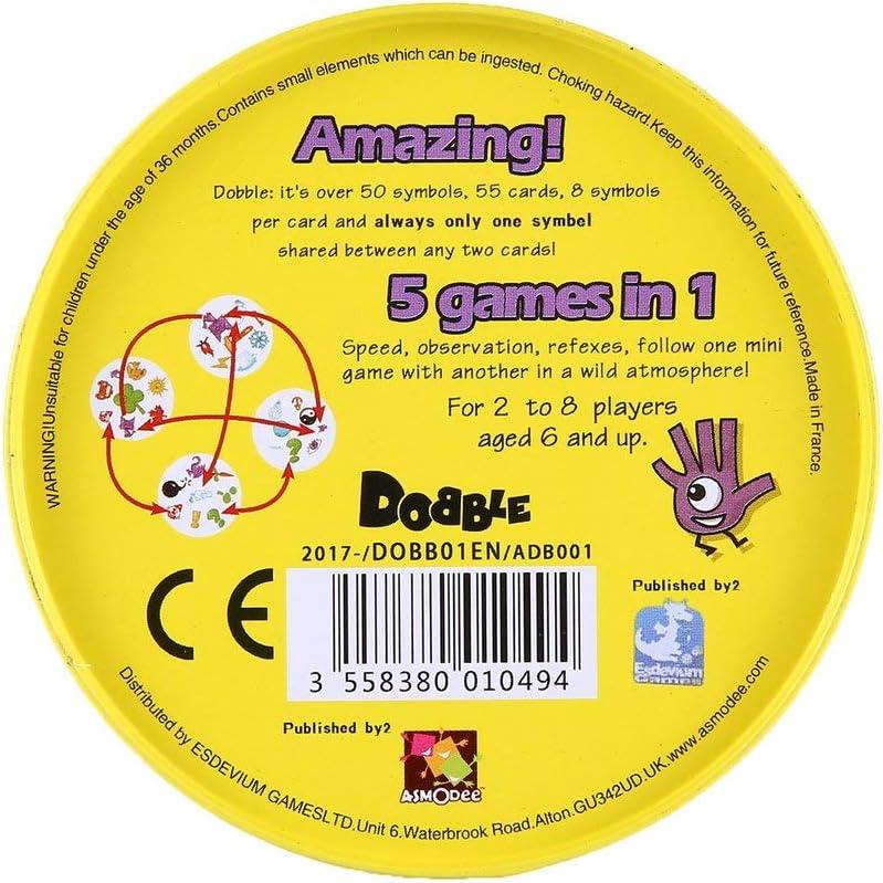 Hehialrk Juego de Mesa DOBBLE Spot Sport & Alphabet para niños ...