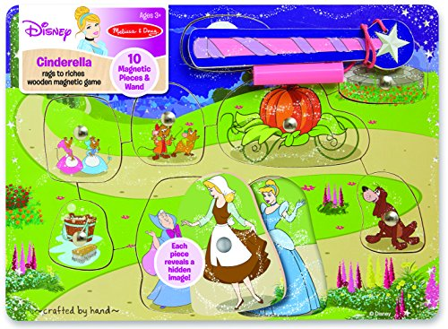 Melissa & Doug Disney Cinderella Rags to Riches Wooden Magnetic Game With 10 Magnetic Pieces and Wand